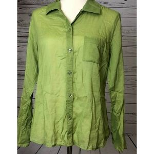 Chicos Small Shirt 8 10 Green Long Sleeve Button